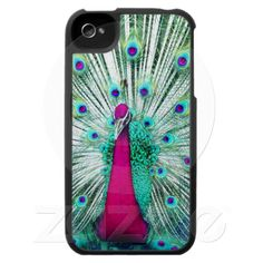 Bright regal peacock girly pink teal bird nature iPhone 4 covers