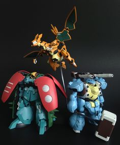 "khrisamisu: "" In celebration of Pokemon's 20th anniversary, I made some pokemon themed mobile suit customs :) I present to you… PM-003 ""Petunia"" PM-006 ""Charlie"" And last but not least, PM-009..."