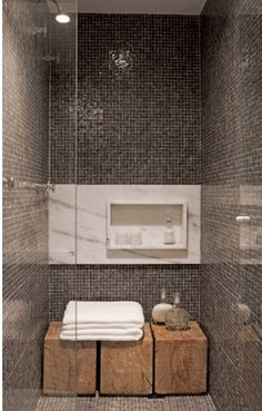 Rustic Wooden Blocks for Seats and Shower Shelf