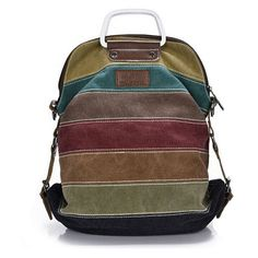 Canvas Stripe Rucksack Multifunction Girls Crossbody laptop Bag Ethnic Rainbow Backpack Fashion School Bag Bolsas Mochila Li295