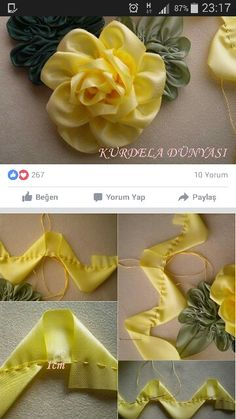 Wonderful Ribbon Embroidery Flowers by Hand Ideas. Enchanting Ribbon Embroidery Flowers by Hand Ideas. Satin Ribbon Flowers, Cloth Flowers, Ribbon Art, Fabric Ribbon, Ribbon Crafts, Flower Crafts, Fabric Flowers, Wreaths Crafts, Flower Diy