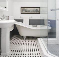 modern shower in a retro bathroom (via desiretoinspire.net - FalkenReynolds)