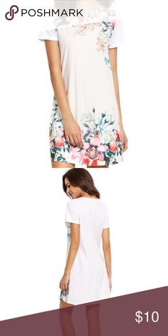 81a346e8de Cute white shift dress White dress with floral print on front. Fabric is  stretchy kind