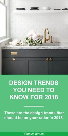 "In interior style is all about rejecting conformity to achieve a particular ""look"" and embracing imperfections. Individual touches have never been so big and anything with a touch of whimsy gets full marks. Basically, 2018 is bringing about the death New Kitchen, Kitchen Dining, Kitchen Small, Kitchen Sink, Diy Cupboards, Dark Cabinets, Pavillion, Laundry Design, My Living Room"
