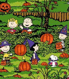 Joann fabric, halloween, snoopy, charlie brown, the great pumpkin on cotton Charlie Brown Halloween, Great Pumpkin Charlie Brown, Peanuts Halloween, Charlie Brown Christmas, Charlie Brown And Snoopy, Holidays Halloween, Happy Halloween, Halloween Cartoons, Halloween Night