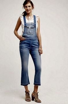 NWT Anthropologie 7 For All Mankind distress denim Flared Croped overalls M $299 #7ForAllMankind #croppedoveralls