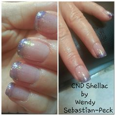 CND Shellac Purple Purple on tips, Clearly Pink on bed & glitter ombre additive