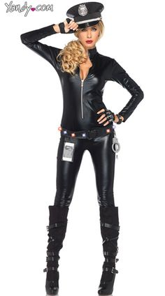 Catsuit Cop Costume Kit, Light Up Cop Catsuit, Police Officer Costume Kit