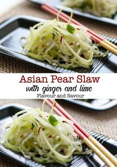 Paleo Asian Pear Slaw with Ginger and Lime. A refreshing vegan slaw made with Asian pears (apple pears), celery, and fennel, lightly dressed with a ginger-lime vinaigrette. A perfect accompaniment to Thai or Asian dishes. Lime Recipes Gluten Free, Vegetarian Recipes, Cooking Recipes, Healthy Recipes, Vitamix Recipes, Blender Recipes, Healthy Eats, Asian Pear Recipes, Vegan Coleslaw