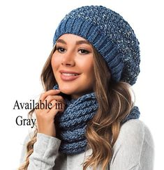 9a357358d35 WINTER MELANGE WOMAN Hat and Infinity Scarf Set