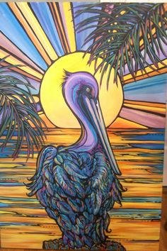 SOLD pelican  Original by Jean Doremus Filson  https://www.facebook.com/Jean-Filson-Artist-Lapoima-Studio-Interiors-119934751368699/?fref=ts