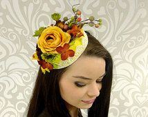 Autumn Cocktail Percher Hat, Pillbox Hat, Kentucky Derby Hat, Flower Headpiece, Felt and Lace Yellow Hat, Races, Derby, Ready to Ship,