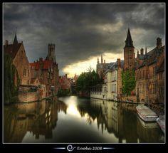 Belfry seen from the Rozenhoedkaai, Bruges - Belgium