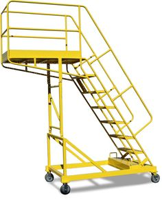 The counterweighted design allows workers to gain safe access without resting against their projects. Rolling Ladder, Scaffolding, Door Design, Drafting Desk, Metal Doors, Rolls, Stairs, Studio Design, Ronaldo