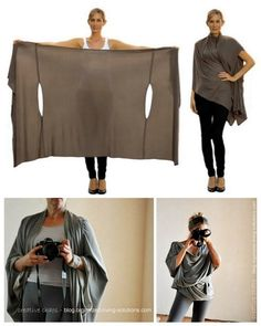 One piece does it all:  scarf, cardigan, poncho, blouse, shrug, stole, turtleneck, shoulder scarf, back wrap, tunic and headscarf