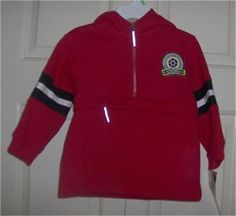 CARTER'S Jacket 18 Months Red Hooded Anorak Sweat Zip Pocket Cotton Long Sleeve #Carters #Jacket #Outerwear