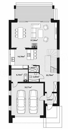 Kliknij aby zamknąć, kliknij i przeciągnij aby prz Narrow House Plans, Dream House Plans, Modern House Plans, House Floor Plans, Open Concept Home, Basement House Plans, Tech House, Apartment Plans, Villa Design