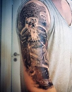 Guy's Viking Ship Tattoo Designs Sleeve