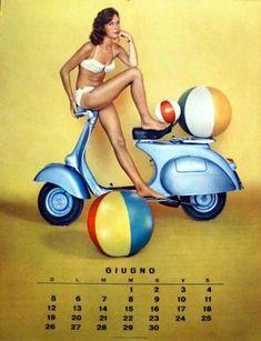 Vespa Calendar from 1960 - Cool Stuff - Motor Vespa Girl, Scooter Girl, Motor Scooters, Vespa Scooters, Motos Vespa, Vespa Lambretta, Piaggio Vespa, Calendar Girls, Calendar June