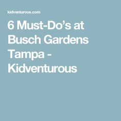 6 Must-Do's at Busch Gardens Tampa - Kidventurous