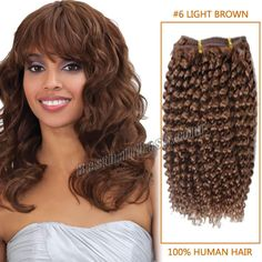30 Inch Unusual Afro Curl Brazilian Remy Hair Wefts #6 Light Brown