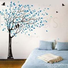 Pop Decors 75 in. x 78 in. Black Tree, Geyser Blue and Vivid Blue Leaves Gone with the Wind Tree Removable Wall Decal, Black Tree/Geyser Blue And Vivid Blue Leaves Flying To Right