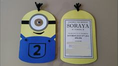 DIY Minion birthday party invitations for Despicable Me themed party. Usung a die-cutter, I cut each of the pieces and assembled them. It took time, but the finished product was well worth it!