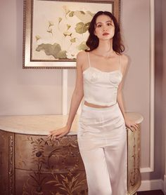 Crop Shirt, Cropped Tank Top, Crop Tank, Tank Tops, Silk Satin, Latest Fashion Trends, Two Piece Skirt Set, How To Wear