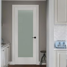 JELD-WEN 32 in. x 80 in. MODA Primed PMT1011 Solid Core Wood Interior Door Slab w/Translucent Glass