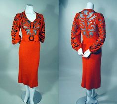 ULTRA SEXY! 1930's VINTAGE ORANGE-RED CHENILLE COCKTAIL DRESS WITH MATCHING HAT and BELT. Available at rpvintage.com