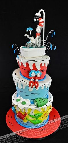 Dr Seuss Cake~The cat in the hat comes back, green eggs and ham, one fish two fish red fish blue fish. Pretty Cakes, Cute Cakes, Dr Seuss Cake, Dr Suess, Book Cakes, Character Cakes, Novelty Cakes, Cake Boss, Fancy Cakes
