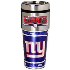 New York Giants NY travel mug. This Giants coffee tumbler is made of stainless steel and features a handcrafted team logo. This 16 ounce travel coffee cup keeps drinks hot or cold longer and has a no spill lid to prevent messy spills while on the go! New York Giants Logo, New York Giants Football, New York Yankees, Modern Christmas Ornaments, Christmas Ideas, Football Fever, Travel Coffee Cup, Thermal Mug, Go Big Blue