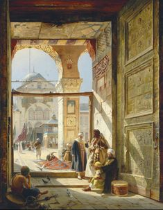 At the Door of the Umayyad Mosque (also known as Am Tor der grossen Umayyad Moschee) - 1890 | Gustav Bauernfeind #German, 1848-1904 Medium: Painting - oil on canvas