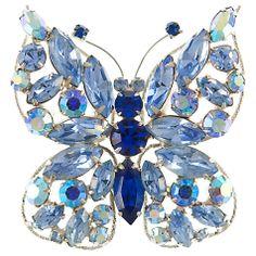 Eclectica 1950s Rhinestone Butterfly Brooch