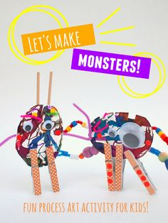 let's make monster sculptures with kids- easy and fun Halloween Fall Activity