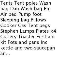 Cropredy checklist camping