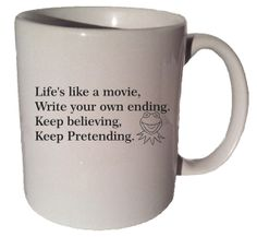 LIFE'S LIKE A MOVIE Kermit The Frog Muppets Quote 11 by MrGoodMug, $14.99 ceramic coffee mug