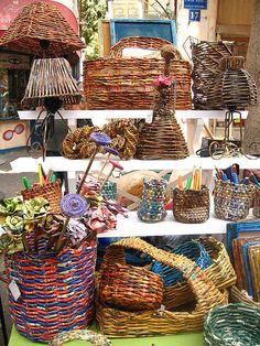 basket weaving with newspaper. There is some nice info underneath the photo worth reading.
