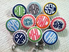 Perfect Present -- Monogrammed Badge Reel ID Holder Badge Pull for Students Nurses Teachers Doctors