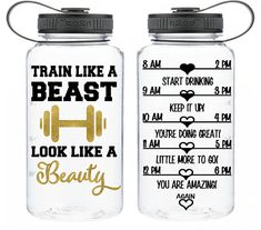 One of a kind! Motivational Water Bottle encouraging Train Like a Beast Look Like a Beauty BPA free workout  motivation 34 Oz