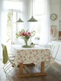 Lights and tablecloth