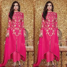 Pink Georgette Party Wear Suit Available at www.fashionclozet.com  Watsapp - +91 9930777376 Email -  info@fashionclozet.com for enquiries.
