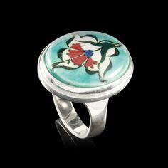 Anel Oval Espelhado em Cerâmica Turca Azul