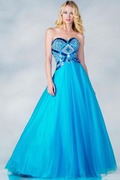 PRIMA C137674 Blue Full Ballgown Prom Dress