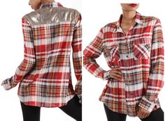Sparkle Is My Middle Name Red, Orange and Yellow Plaid Long Sleeve with Gold Sequins - Fall Fashion