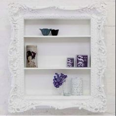 Could buy trim to put around built in shelf in kitchen wall to make this myself ! Ruffle Frame Shelf - modern - wall shelves - Brocade Home Picture Frame Shelves, Frame Shelf, Old Picture Frames, Diy Frame, Ladder Shelf Diy, Diy Wall Shelves, Small Shelves, Bathroom Shelves, Bathroom Storage