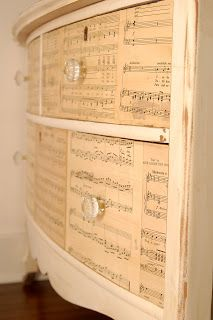 Found it! DIY tutorial on this Mod Podge sheet music dresser. I am in love with this. Will be trying soon. #vintage