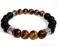 Items similar to Men black onyx and Tiger eye bracelet on Etsy Gemstone Bracelets, Bracelets For Men, Jewelry Bracelets, Diamond Bracelets, Leather Bracelets, Bracelet Patterns, Bracelet Designs, Beaded Jewelry, Beaded Necklace