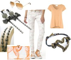 Spring Peach fashion. LOVE the accessories by chelseagirldesigns.etsy.com