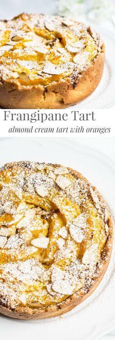 Frangipane Tart with Oranges: a sweet, almond cream tart with delicious orange wedges. Recipe via MonPetitFour.com